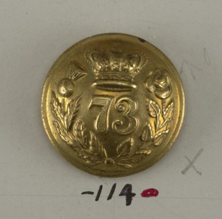 "Convex button ornamented with numerals ""73"" placed under a crown and within a wreath formed of a rose spray crossing a thistle. Back and ring shank of brass. On reverse: ""P. Tait and Co Limerick"".