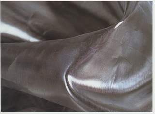 Lightweight polyester sheer with shiny, silver-colored steel coating.