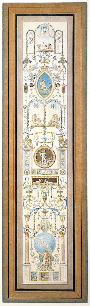 Design for a wall panel with a vertical composition.  Episodes from the life of Hercules are interspersed amidst a finely drawn, elaborate display of gardens, urns, nymphs, leafy arbors, pavilions and arabesques.  The panel's representations include, from the bottom up: Hercules and Dejanira; Hercules and Antaeus;  Hercules and Cerverus;  Hercules and the Cretan bull; Hercules and Nemean lion; Hercules carrying the apples of the Hesperides; Hercules killing the Hydra;  Hercules and Geryon (?); Hercules as boy with snake; Mercury advising Hercules.