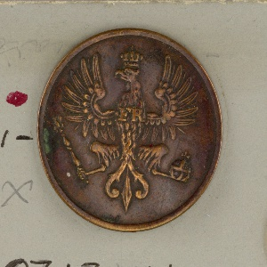 """A) Button ornamented with crowned eagle, spread and upcurling wings  """"FR"""" on breast; orb in left claw, scepter, in right. Brass back and shank. B) Copper button in same design; """"extra fein"""" on reverse.  Component -a is on card 45 and is not labeled with component Component -b is on card D"""