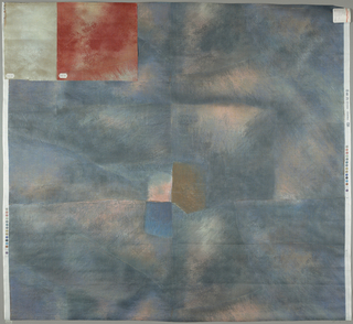 Painterly fresco-like surface in slate blue, pink and brown.