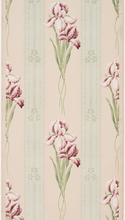 Floral stripe pattern with iris flowers on stems alternating with green stripe containing petite floral motifs strung together.