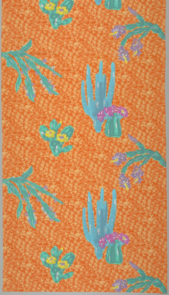 Flowering cactuses on an orange background of digonal rows of houses.