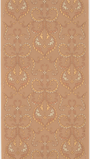 Scrolling foliage forming medallions. Printed in metallic gold and copper pigments on light brown ground.