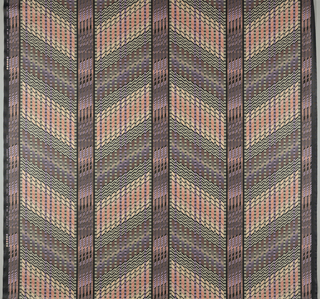 Length of printed cotton with large chevrons formed of small vertical rectangles in subtle shades of purple, orange and yellow.