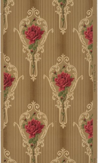On a vertically striped ground in tan and brown, pattern of red roses and stems inside shape of hand mirror, scroll-like decoration. Medallion stripe pattern.