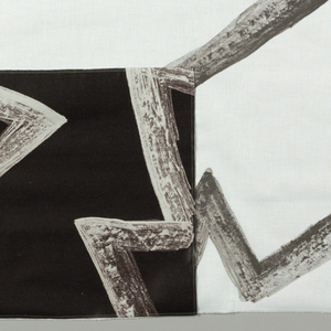 Large zigzags in black and grey in a charcoal texture on a white background