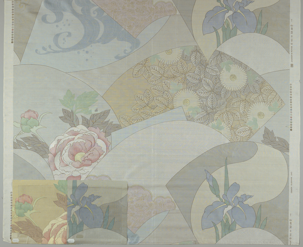 "Overlapping fan shapes each with an ""oriental"" design upon it, in pastel colors. 2 colorways attached."