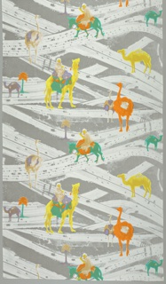 Camels, donkeys,and ostriches in bright colors on a background of highways in grey