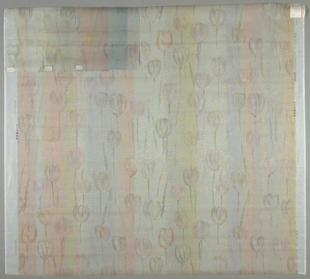 Sheer fabric with a pattern of tulips on a striped background in pale colors.