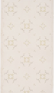 On light gray ground, staggered floral motifs in lavender, white, and light brown.