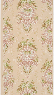 Acanthus medallions with floral bouquet at top, floral swag at bottom, connected by faint floral swags. Printed on a light tan ground.