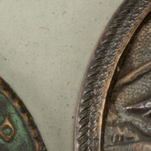 three bronze buttons with antique finish showing crowned head, with IMPCPOSTUMUSPIAUC  Component -b is on Cooper Union Exhibition card 8 a and e- on card 42