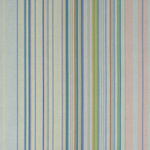 Multicolored stripes of varying width set against wavy paralel lines. 3 greys, 2 blues, 2 greens, 2 pinks, mustard and cream.