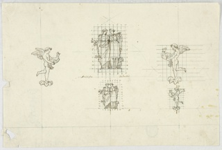 Horizontal rectangle. Two designs for groups of statues or decorative elements. Figures of Friendship and Fidelity at center, above in a larger scale and in a smaller scale below. Two standing women shown from the front embrace each other. Beside the figure of Friendship at left grows a little tree, and beside the figure of Fidelity at right is a small dog. Both designs are squared and the lines numbered up to 8 and 11, respectively. At left, a putto stands with his right foot upon a blossom. He is shown in profile turned toward the right and carries a rooster with both hands. At right, two squared designs of the same motif symmetrically turned toward left. It is in a greater scale above and in a smaller scale below. Verso: three graphite sketches for candelbra.