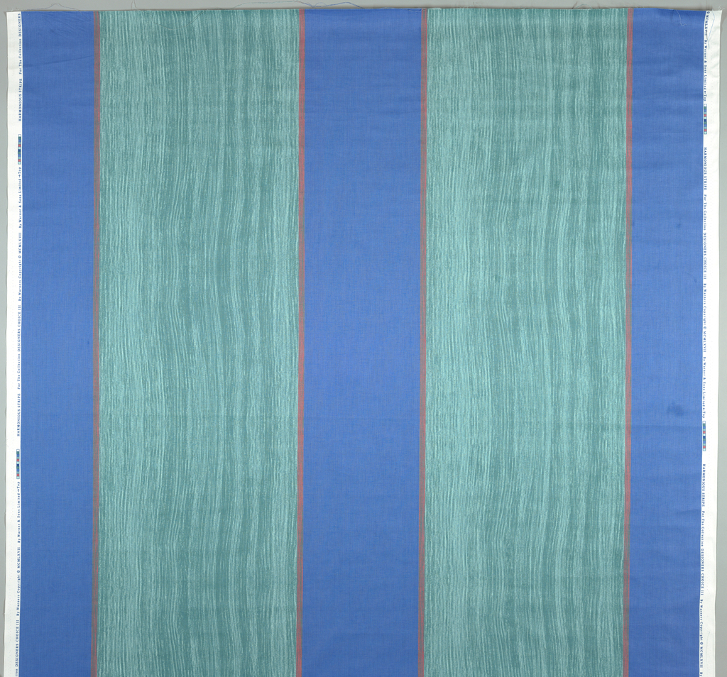 "Alternation of fine, vertical parallel lines with looser ""combed finger-painting' look.. 3 blues, 2 greens and pink."
