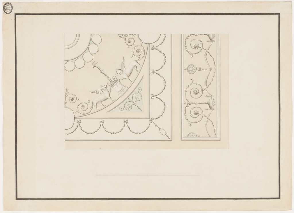 Horizontal format design for an oblong plaster ceiling. One quarter is shown. Bands separate the inner field and oblongs at the short sides. The latter show drapery festoons hanging from candelabra which stand upon scrolls, connected by segments consisting of calices. The scheme of the decoration of the inner field is that of a frame with festoon surrounding inner circles. In the center are the frames of a medallion, the outermost being surrounded by rows of circle motifs. Winged lions with scrolls as tails stand beside candelabra in the outer circular strip. Below the scale. Framing strip.