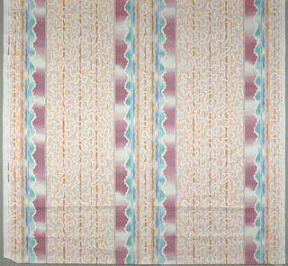 Stripes with over design of squggly and wavy lines. All in soft colors with indistinct edges.