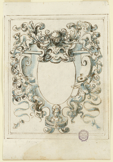 Grotesque design with harpies, acanthus leaves and satyrs surrounds a reserve.