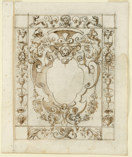 Strapwork escutcheon with masks and harpies is framed with grotesque candelabrum.