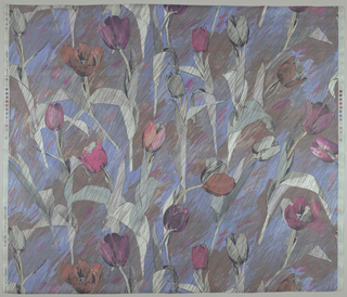 Isolated tulips on shaded background with diagonal lines as if seen through the rain. 14 colors, blues, mauve and gray predominating.