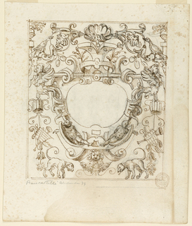 Strapwork frames a blank central oval. Below, two putti recline on scrolls, and dogs flank a central lion mask. Along the sides are musical trophies, birds and fantastic half human figures.
