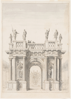 "Vertical rectangle. The pavilion has the general shape of a triumphal arch, with one entrance on each side. The central room has a circular opening instead of a roof. Above is a terrace bordered by balustrades, with statues at the protruding corners, six of which are drawn: three representing warriors, one that seems to be a figure of the Italian comedy, with colors; two others. Upon the balustrade are two men; one of them bears a mask. Through the arch, a view of a structure with a large niche, in front of which stands a statue, evidently of ""POSEIDON."" The floor of the whole place is paved. Framing line."