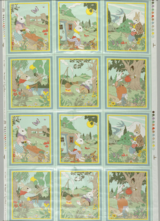 Textile With Colorway Samples, Mr. Rabbit, ca. 1980