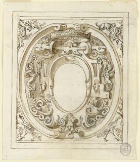Oval escutcheon within a rectangular frame. The spandrels show digs and birds. At center, a grotesque frame of masks, snakes and a large crown.