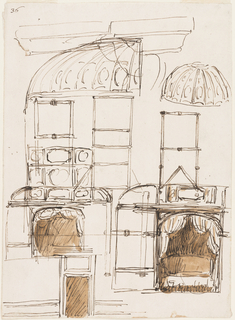 Drawing, Bed alcoves with curved ceilings