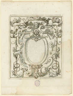 Strapwork with winged figures holding a crown over an oval reserve.