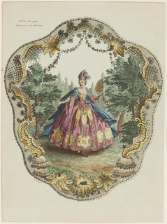 Design for a screen fan for Mlle. La Montagne, Watteau's mistress. A woman, presumably Mlle. La Montagne, stands in the center of the design amongst a wooded landscape. The woman wears an elegant dress and cape, as well as a headpiece with feathers. She holds a fan in one hand. The border of the design includes a garland and rocaille motifs.