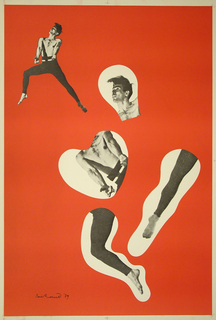Red ground.  Black and white image of male dancer in a lunge pose, upper left quadrant. Four disembodied and enlarged segments of the dancer image (the head, torso, pointed left leg, and right leg in lunge) on organically shaped cream colored grounds in center.
