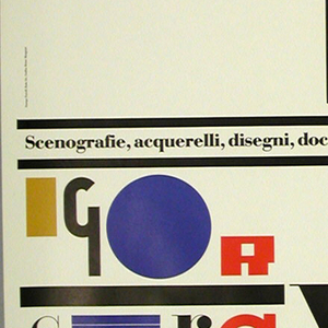 "Vertical rectangle. Exhibition poster image comprised of  five lines of printed text: Oskar/ Schlemmer / Les Noces / Igor / Stravinsky; the words made up of varying styles and scales of typographic letter forms in black, yellow, red, and blue (a color palette used by de Stijl or Bauhaus designers). The names of the  featured artist and composer flank the central and larger title of the piece, like a particularly vibrant section of a written musical score.  The ""O"" in each word is a solid circle (gold-yellow for ""Oskar"" at upper right: red in ""Noces"" at center;  blue in ""Igor"" at lower left), accenting the page in an attractive eye-catching way, like rhythmic beats in visual music, as well as serving as an allusion to the geometric shapes used in Schlemmer's costume and set designs."