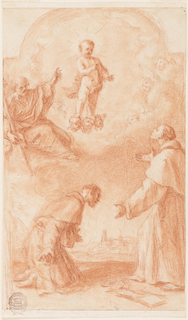 The Christ child standing upon cherubim appears before St. Anthony of Padua, who is shown standing at right. Lily bough and book lie upon the soil. He gazes at St. Joseph, who is seated upon the clouds and points at the child. Another Franciscan monk is shown in admiration in profile at left.