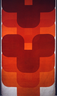 Length of printed velveteen with overlapping sets of three off-set, tangent, rounded squares, in rust, dark orange, and light orange on a white ground.