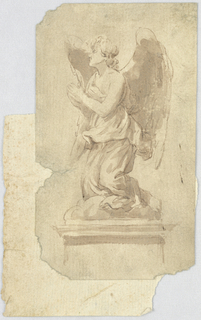 Vertical rectangle showing the statue of an angel with hands in prayer.