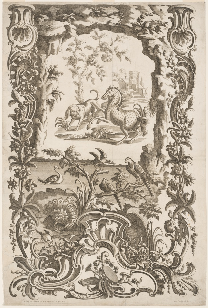The escutcheon is composed on rocaille and architectural  motifs, of flowers and, on top, of the top of a stone arch. A music trophy is in a triangular panel in the bottom center. A horse, a dog, a rose, a group of buildings is shown through the arch. It rises from water, upon which a swan swims. At its near edge are birds.