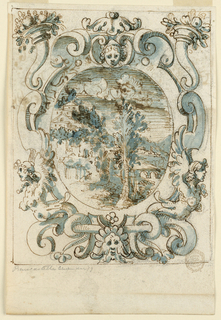 Strapwork with harpies and cornucopia frame a landscape with a house on a hill.
