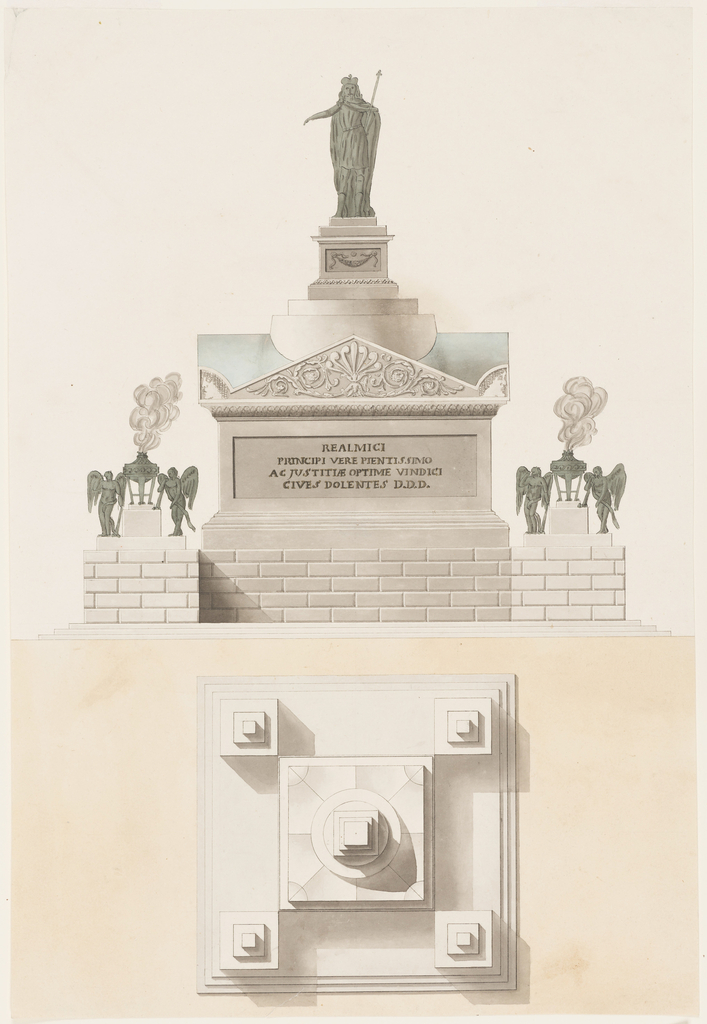 Elevation and plan view of square monument with centralized plan. At top, a sculpture of king on a plinth. At each corner, smoking braziers with angels.