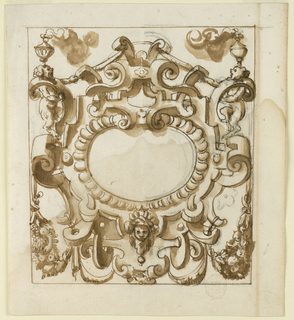 Strapwork frame with bears and smoking braziers.