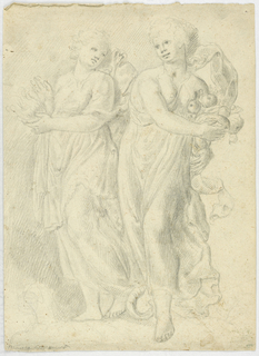 Two draped figures, their arms' curved to hold things in the crooks of their elbows, stand side by side with their heads turned gently towards each other.  The male figure, on the right, holds a cornucopia of fruit and food and the female figure holds something  that appears to be in motion, perhaps fire.
