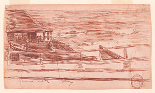 Drawing, House at a Railing with Beached Dories