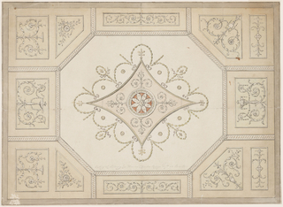 Horizontal format design for a plaster ceiling. Outside are oblong and pentagonal panels, the latter in the corners framed by an interlacing band. The pentagons are decorated with two panels each, those at left with oblongs and pentagons. Most panels show plant candelabra. The oblongs in the center of the long sides show rinceau motifs, the irregular tetragons show disks above crossed branches.
