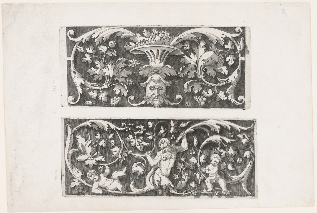 Print, Ornamental Foliage with a Mask and a Bowl of Fruit (Autre, offrant au milieu d'en bas un mascaron...)