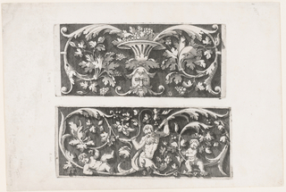 Sheet contains two rinceaux designs. Upper design: grape leaf and centralized grotesque motif above mask with leafy hair, beard and scrolling moustache, which supports grape filled vase; lower design: three figures amongst acanthus leaves and partial figure of nude male at center flanked by two putti.
