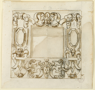 Strapwork frame. At top, a mask with swags. To the left and right, a faceted octagon.