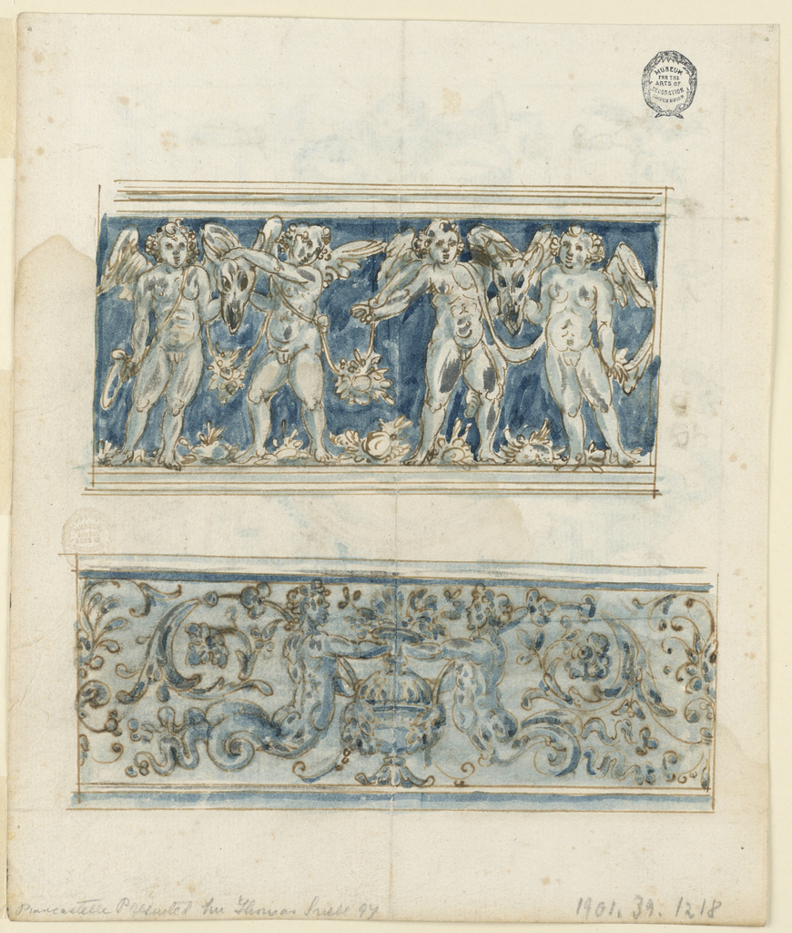 Two friezes. At top, four putti with bucranium against a blue ground.  Below, a symmetrical grotesque with mermaids and rinceaux.