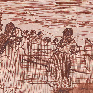 In upper half of composition, figures of women stand at a railing and watch the fishermen and the sea; at left is a house with a hipped roof and porch; beyond the railing, four dories are drawn up on beach.  Framing lines.  In lower half: details of three women [in a grouping similar to the one on the verso], and one dory with color notations. Verso: drawn in opposite direction: three women and a child stand behind a railing; in background are dories, heads of fishermen, sea.