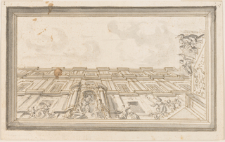Horizontal rectangle. Seen from the door is the façade of a three-story building. A woman standing in the doorway receives children brought by their mothers. At the short side at right are stairs with, among others, two men with sticks, one evidently being aided by another man. An escutcheon with an inscription is in front of the stairs. Framing by plain mouldings.
